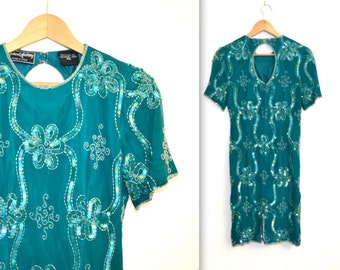 90s Vintage Flapper Inspired Sequin Dress size XS Small in Teal Blue// Vintage Beaded Dress in Blue Green