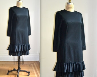 Vintage Black Dress Size Large with Drop Waist Long Sleeved// Vintage 60s Black Dress Size Large by Edith Flagg Made in England