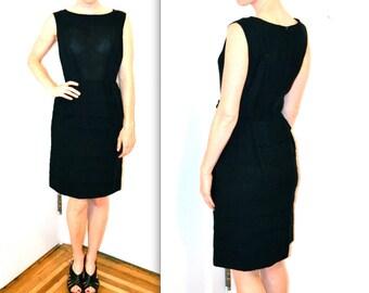 60s Vintage Black Dress Size Medium// 60s Vintage Pleated Dress Size Medium// Vintage Black Party Dress