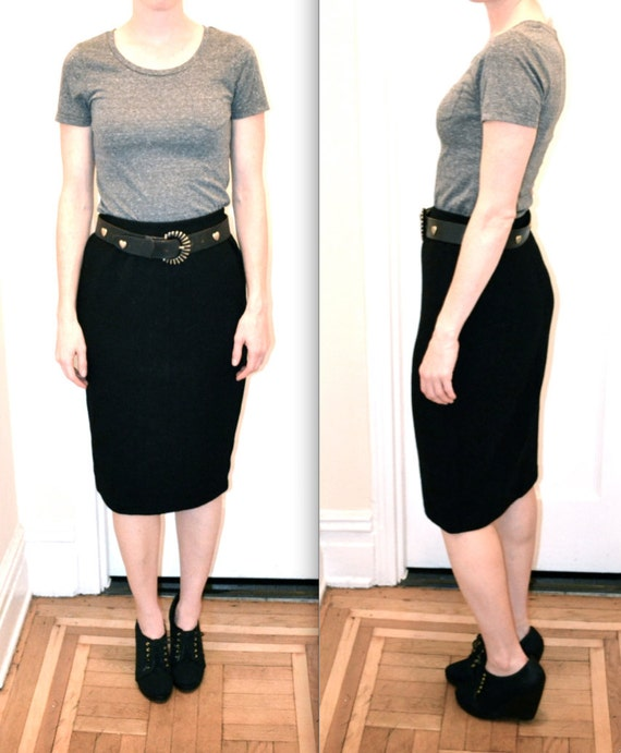 Vintage Black Pencil Skirt Size Medium Knit Wool Large Made in Italy