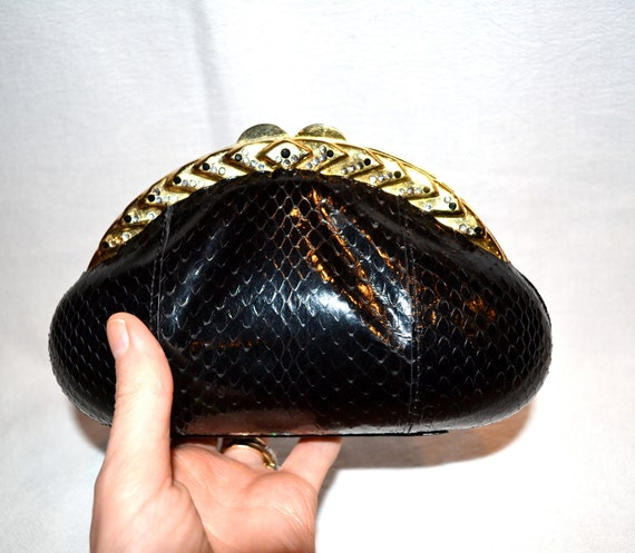 80s Vintage Black Clutch Black Evening Bag in Faux Python Hard Case with Rhinestones
