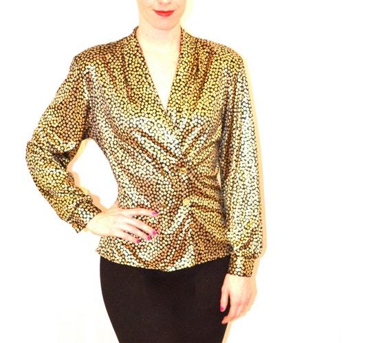 80s Vintage Metallic Gold Shirt, Size large
