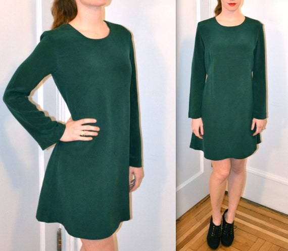 Dark Green Silk Dress// 90s Silk Shift Dress Dark Emerald Dress
