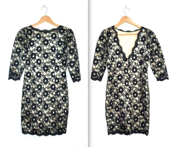 1960s Vintage Black Lace Dress Size XS/S
