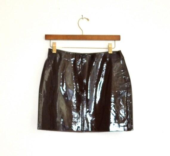Dark Brown Patent Leather Mini Skirt, Size S