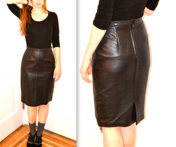 Michael Hoban North Beach Black Leather Skirt size 7/8