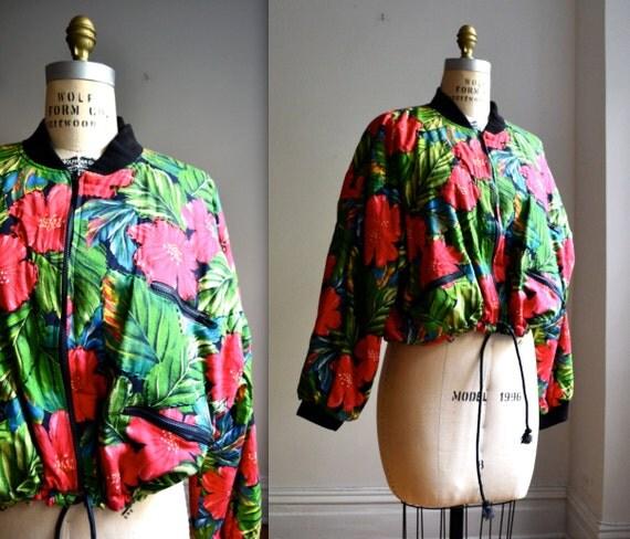 Oversized 90s Tropical Print Bomber Jacket// Tropical Print Jacket Size Large