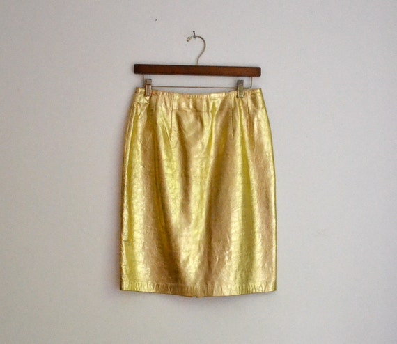 Vintage Metallic Gold Leather Skirt Size Medium