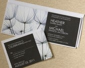 Dandelion Wedding Invitation, Black and White Wedding Invite, Modern Invitation, SAMPLE