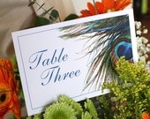 Peacock Wedding Table Number, DEPOSIT