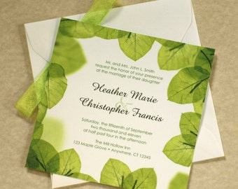 Green Leaf Wedding Invitation, Leaf Border, Green Wedding, DEPOSIT