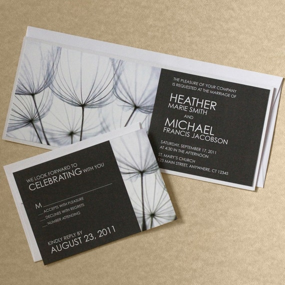 dandelion wedding invitation black and white wedding invite modern