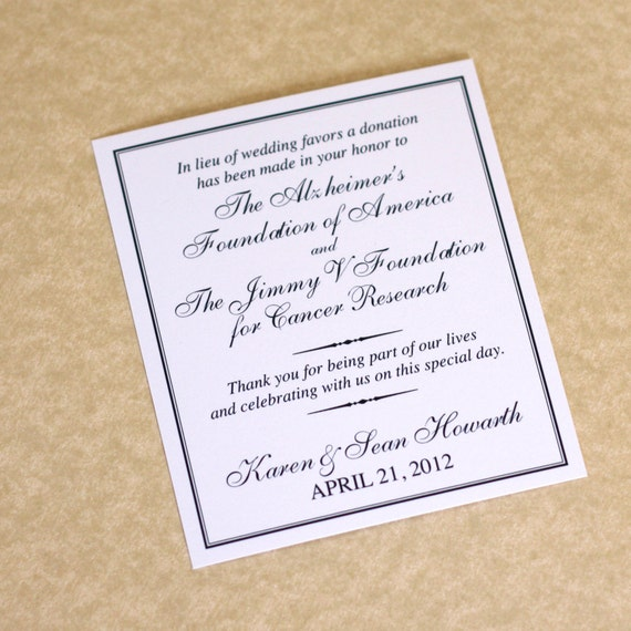 Wedding Gift Poem Charity : Charity Wedding Donation Card, Favor Card, DEPOSIT