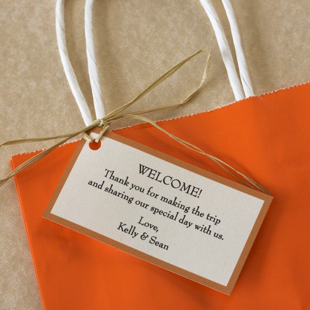 Wedding Gift Bag Notes : Wedding Welcome Gift Tags Set of 10