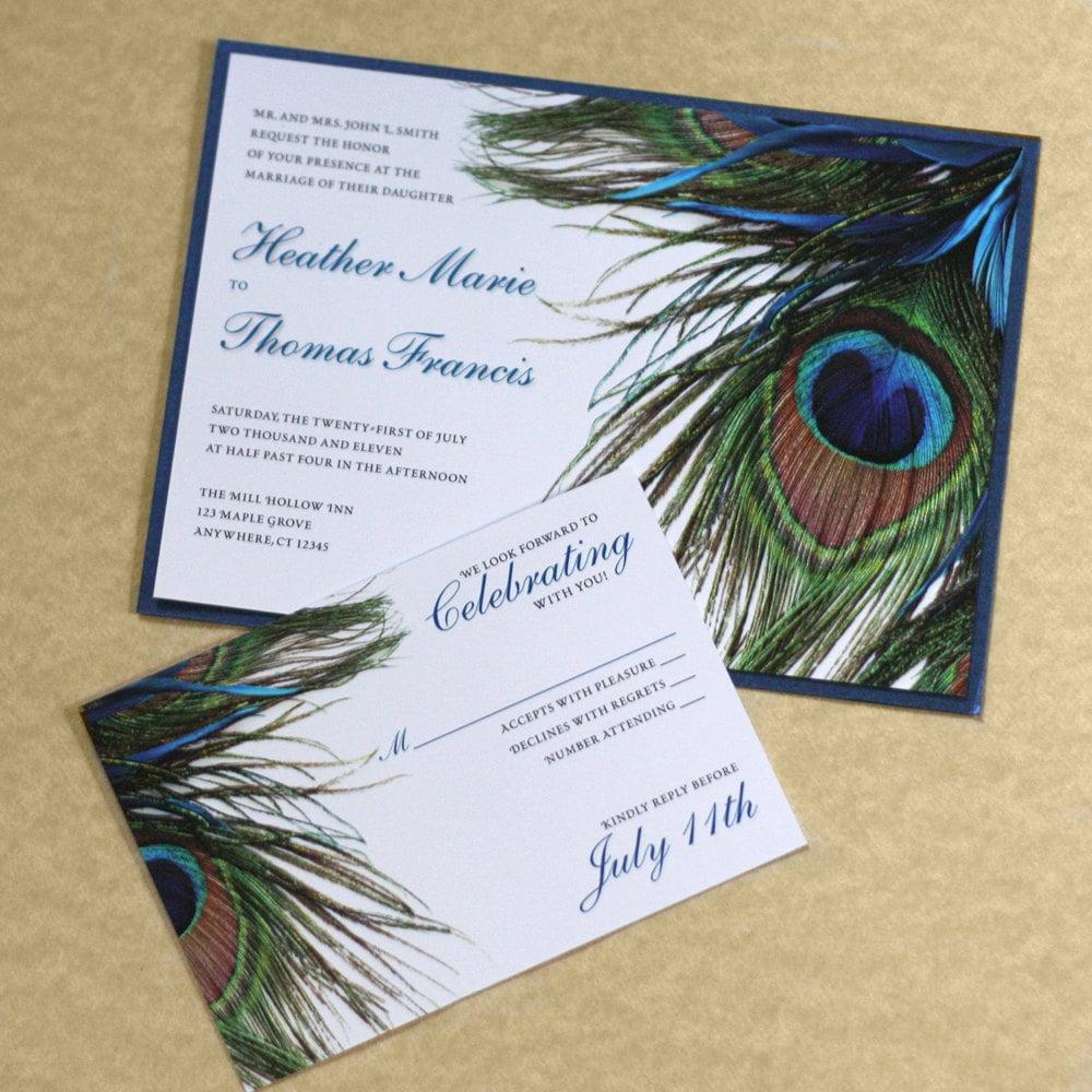 peacock wedding invitation feather wedding peacock feather