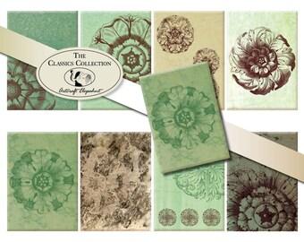 ACEO digital sheet, green shades marble, 2.5x3.5 inch