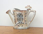 Vintage Stoneware Vase Owl on Watering Can
