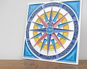 Nautical Compass Vintage Art Tile Creazioni Luciano
