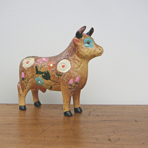 Vintage Flowered Bull Cow Bank
