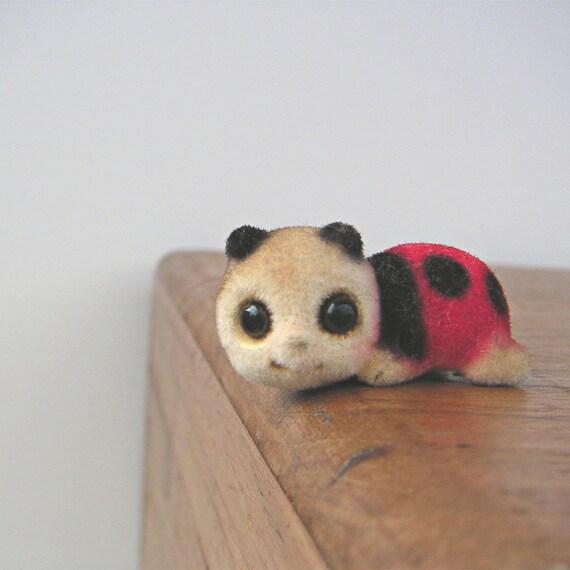 Vintage Flocked Ladybug Miniature Figurine