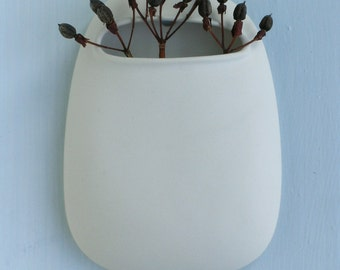 Pod Stem Vase White Porcelain large size. Suspended hanging vases stem, flower, bud.
