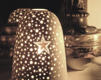 Medium Porcelain Pierced Star Tea Light Holder