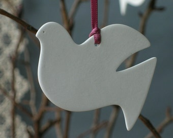 Ceramic Porcelain Peace Dove Decoration, Ornament, wedding favour, births, christening, valentines, xmas