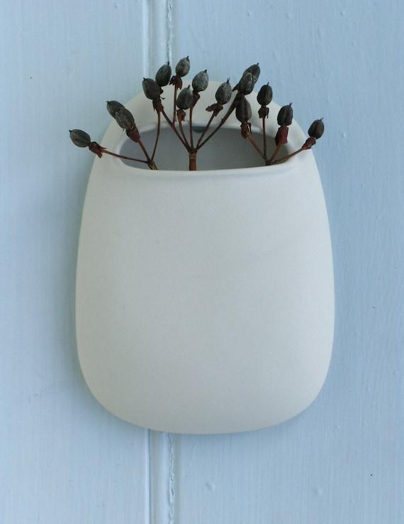 Pod Stem Vase White Porcelain large size. Suspended hanging vases stem, flower, bud.
