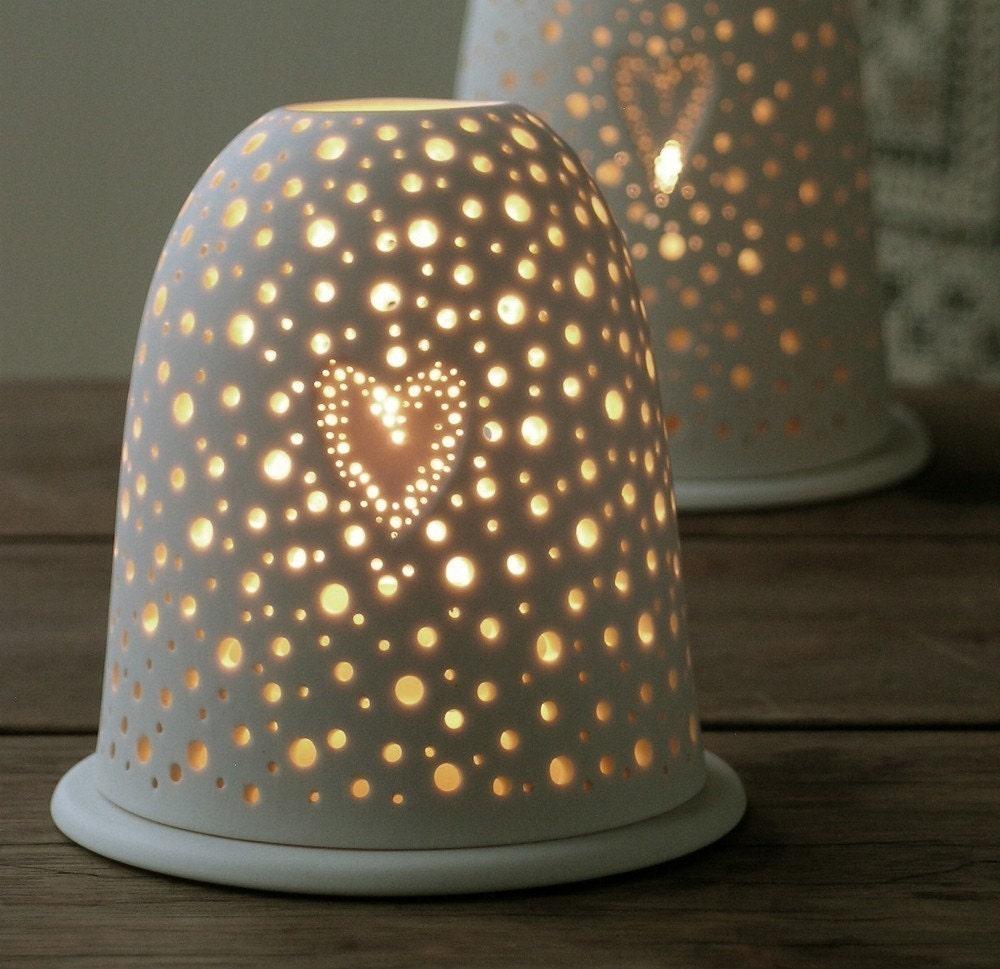 Small Porcelain Pierced Valentine Valentines Tea Light With