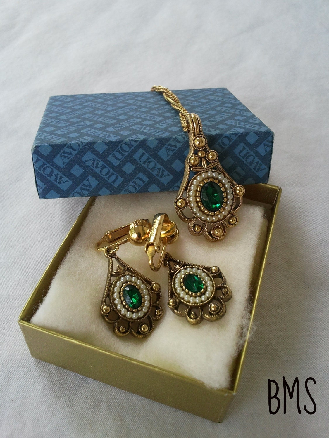 Vintage Gold Pearl Amp Emerald Jewelry Set By Avon