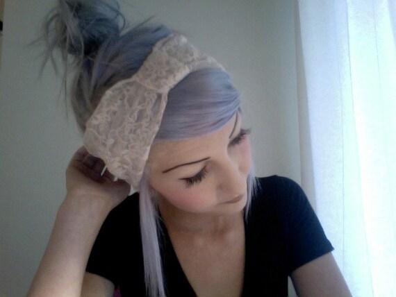 Creme lace stretchy turban headband