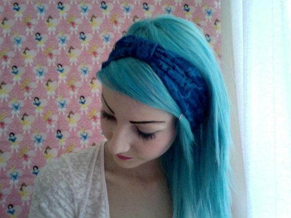 LAST ONE Dark Royal blue stretchy LACE turban headband