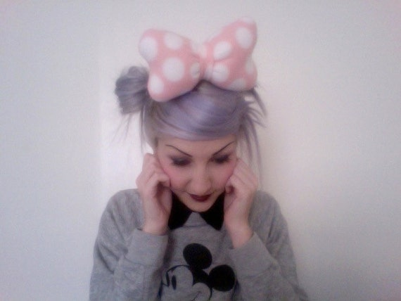 Amme B's original MINNIE MOUSE Disney inspired pastel pink with white polka dots big poofy hair bow clip
