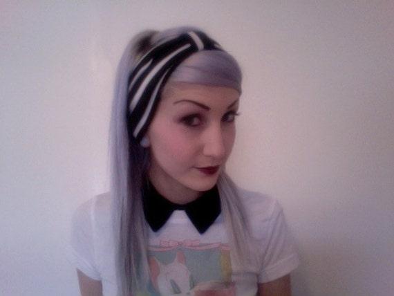 Classic black and white STRIPED  stretchy hipster turban headband head warp