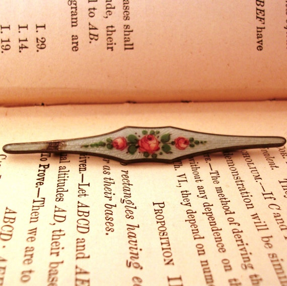 Vintage sterling and enamel bar brooch