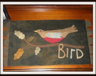 Primitive Wool Bird Table Runner, Appliqued Rustic Table Mat, Maggie Bonanomi Design - FREE US SHIPPING