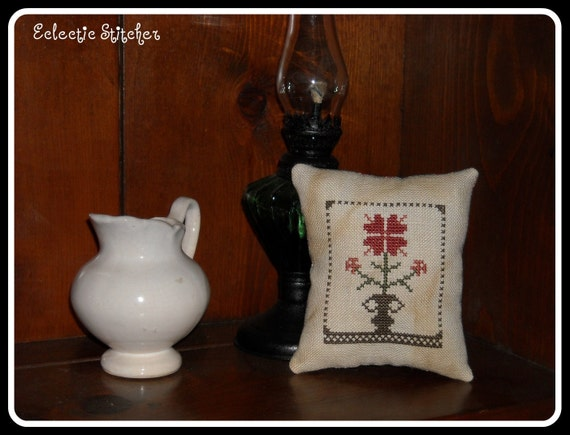 Floral Urn Cupboard Pillow, Pincushion, Primitive Cross Stitch, Primitive Betty, FREE US SHIPPING