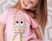 SALE Size 18m 24m 2T Girls Easter Shirt Applique Egg with Bow Pink Tee Ready to Ship