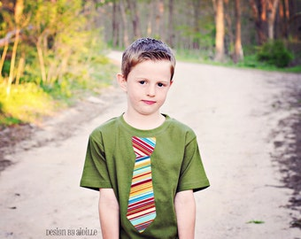 Size 6, Applique Boys Tie Shirt, Olive Green Short Sleeve Tee Stripe, Ready to Ship