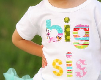 Big Sister Shirt Big Sis Sibling Tshirt Birth Announcement for New Baby 12m 18m 2T 3T 4T 5T 6 8  NEW Shirt Style Made to Order