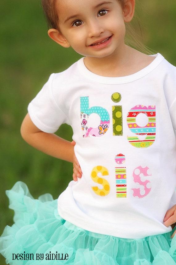 Size 4 4t ready to ship big sister shirt big sis sibling for Big sister birth announcement shirts