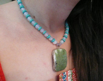 Ceramic Piece in Silver Strung with Moon Glow Beads AND Sterling Silver Earrings to Match