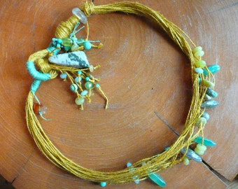 Beads In Knots... Semi Precious Beads On Linen In Knots Around Your Neck
