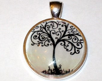 Tree of Life Glass Pendant Black and White 1 inch round glass pendant for necklace