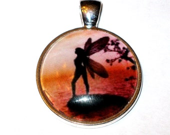 Fairy at Dawn Silhouette Glass Pendant    Glass Tile Pendant