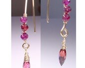 Ladies AAA Sparkly Rhodolite GARNET Faceted Dew Drop Gemstones on 14K Gold Fill Hooks