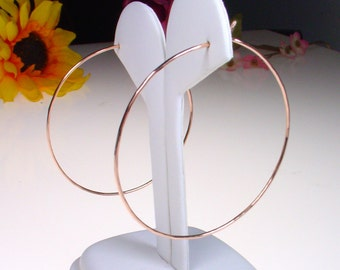 """14k Rose Goldfill Hoops - 2"""" Hoops - 14k Gold Filled Hoops - Thin Gold Hoops - Thin and Simple Gold Hoop Earrings"""