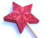 Red magic wand. Great for kids for dress up as fairies, pixies, or wizards.