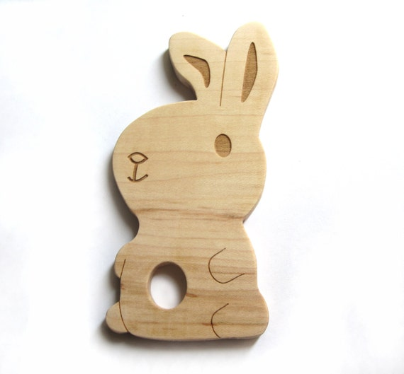 Teething ring bunny baby toy - wood teething