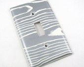 Single Light Switch Cover, Silver and White Woodgrain Pattern, Recycled Upcycled Paper